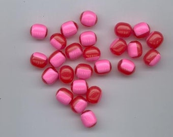 25 happy and cheerful vintage lucite beads - translucent red with opaque pink over half of each bead - 12 x 10.5 mm