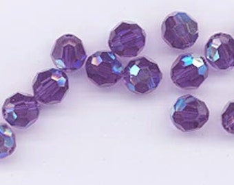 24 gorgeous Swarovski crystals - art 5000 - 6 mm - purple velvet AB