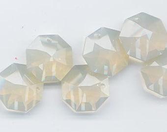 Four vintage Swarovski 14 mm crystal octagon pendants - art 8115 - sand opal - Strass logo!