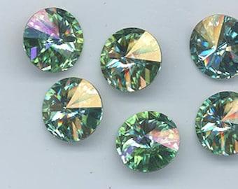 Rare!  Four gorgeous Swarovski mer d'aqua rivolis - art 1122 - 14 mm