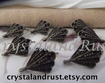 8pc. Shell Earring Stud Charms --- Antique Bronze Color --- CHM - 123