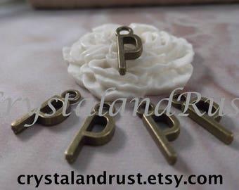 """5 Letter """"P"""" Antique Bronze Charms --- Antique Bronze Color"""