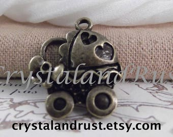 3pc. Adorable Baby Buggy Charms --- Antique Bronze Color --- CHM 107