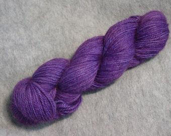Hand Dyed Alpaca Yarn in Grape - Sport Wt 250 yds