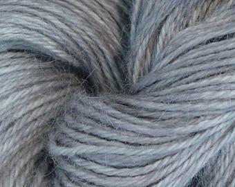 Hand Dyed Alpaca Yarn in Silver - Finger Wt - 250 yds