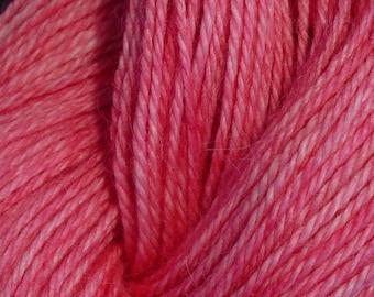 Hand Dyed Alpaca Yarn in Pink - Finger Wt - 250 yds