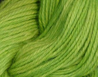 Hand Dyed Alpaca Yarn in Sour Apple - Finger Wt - 250 yds