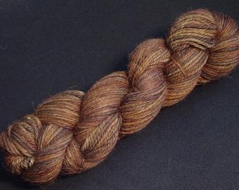 Hand Dyed Alpaca Yarn in Mystic Walnut - Sport Wt 250 yds