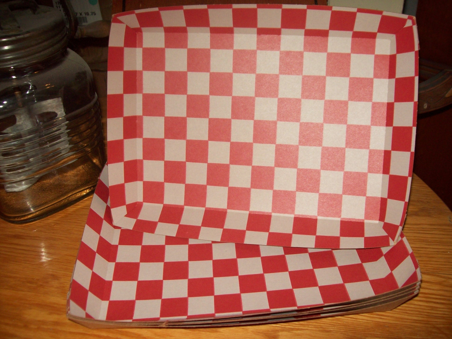 Red Checkerboard Kraft Brown Food Tray Birthday Movie Night | Etsy