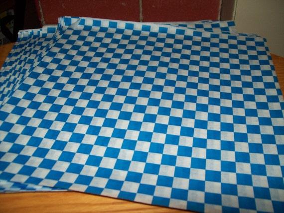 retro blue checkerboard deli wrap wax paper food basket etsy