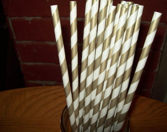 Retro Looking Gold & White Striped Paper Drinking Straws  25