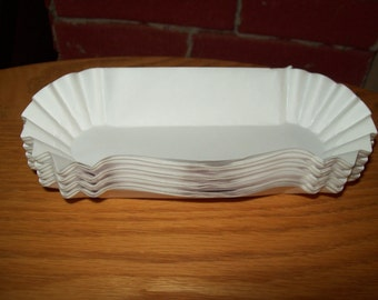 Retro White Paper Hot Dogs Tray  Holders Picnic Cookout Birthdays  Set of 50