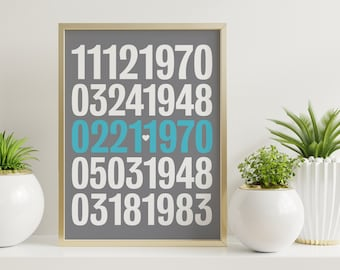 Personalized special dates art print - wedding anniversary, family / baby / kids birthdays, significant numbers, engagement