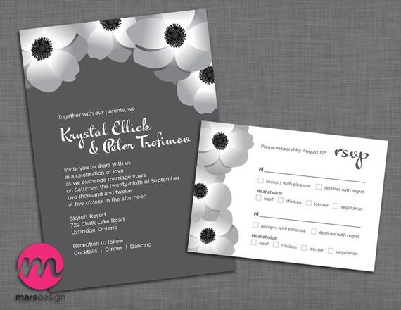 Mohn / Anemonen Hochzeit Einladung und Rsvp Karten-Set | Etsy