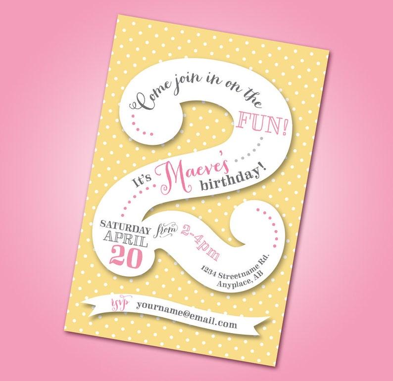 Polka Dot 2nd Birthday Party Invitation Printable DIY