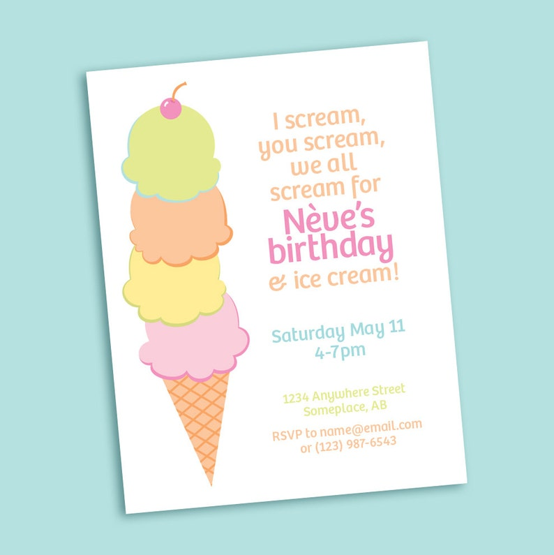 photograph about Ice Cream Cone Printable called Ice Product Cone printable celebration invitation - for birthday, child shower - I Scream for Ice Product