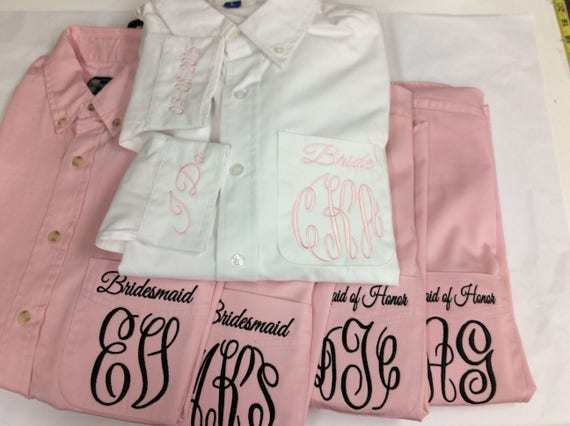with Shirts Bridesmaid and 7 ~ Both monogram title Oversized of front back Set Monogrammed Xq1wSx0