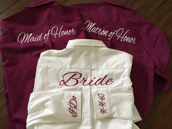 16 front back Dress and Both Oversize Bridesmaid Shirts Shirt embroidery Monogrammed Brides Oversized qqBFzr