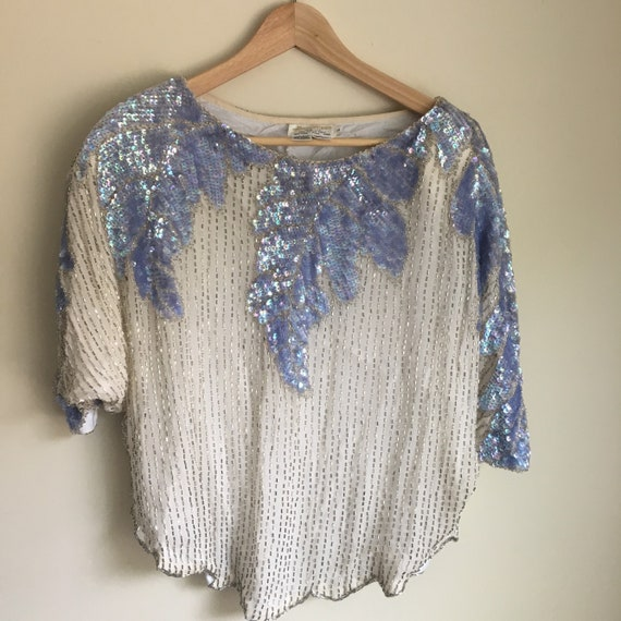 sequin top, sequin crop top, white and blue sequin