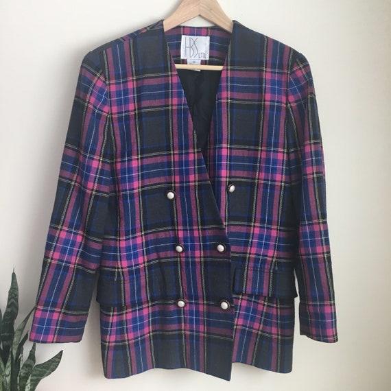 plaid blazer, plaid suit coat, 80s suit, 90s blaze