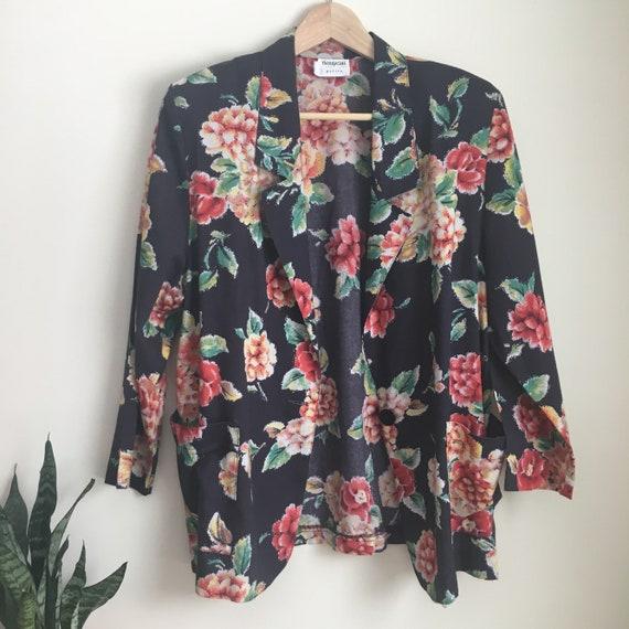 floral blazer, 90s blazer, 90s suit coat, grunge s