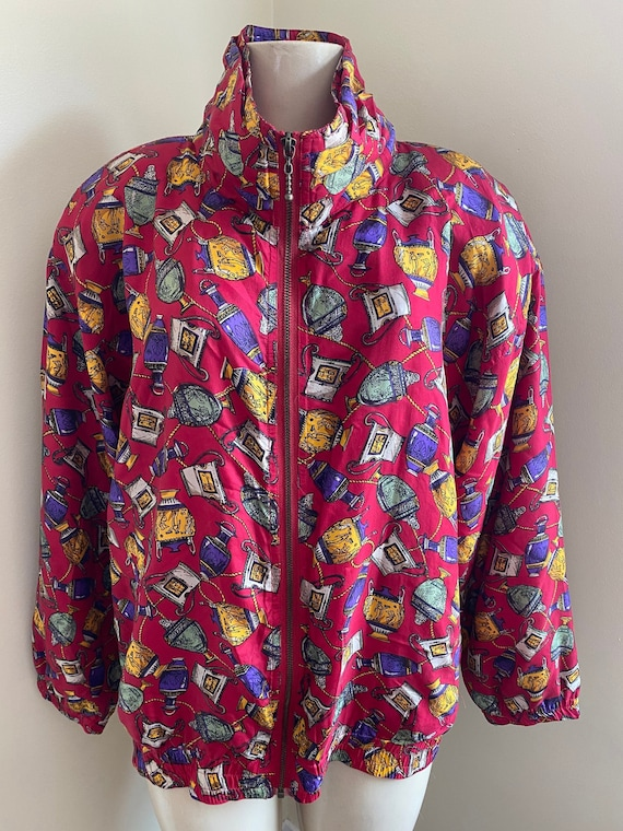 vintage 90s silky bomber jacket, made of 100% silk