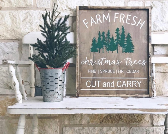 Christmas Tree Sign | Farm Fresh | Wood Sign | Holiday | Christmas