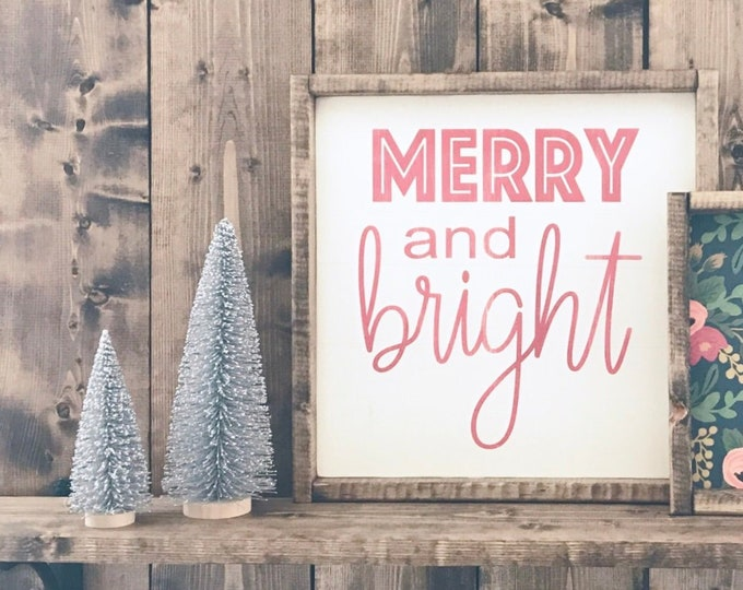 Christmas Sign | Merry and Bright | Merry Christmas | Wood Sign