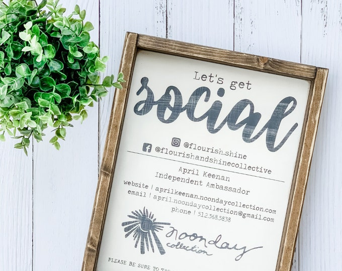 Let's Get Social Sign | Custom Social Media Sign | Boutique Sign | Custom Business Sign | Custom Logo Sign