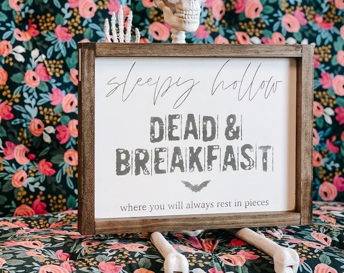 Featured listing image: Sleepy Hollow Dead and Breakfast Wood Sign | Halloween Sign | Halloween Decor