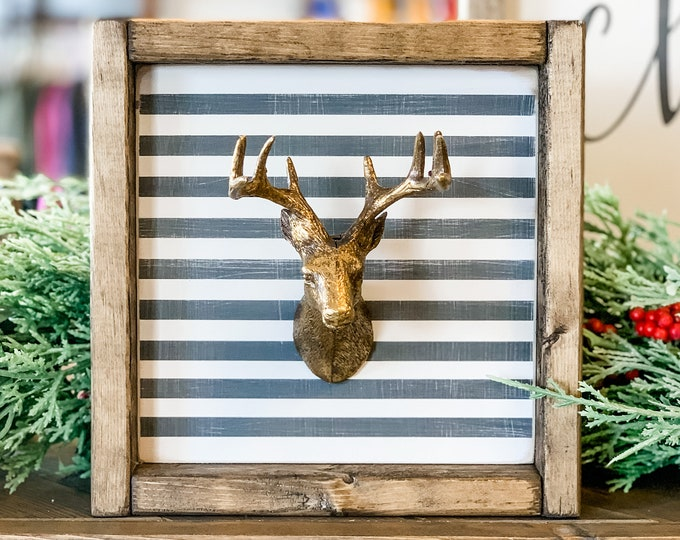 Faux Deer Head | Deer Wood Sign | Deer Sign | Have Yourself a Merry Little Christmas | Be Merry | Christmas Decor