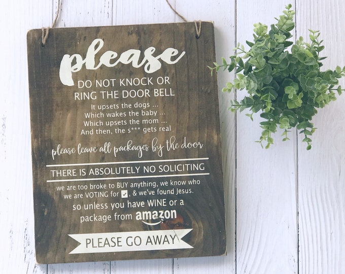 NO Soliciting Sign | Wood Sign | Home Decor