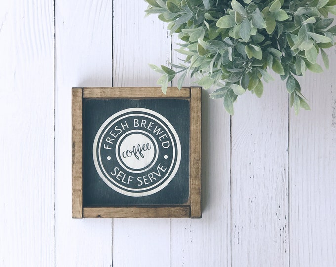 Coffee Bar Sign | Fresh Brewed Coffee | Rae Dunn Inspired | Wood Sign | Custom Wood Sign