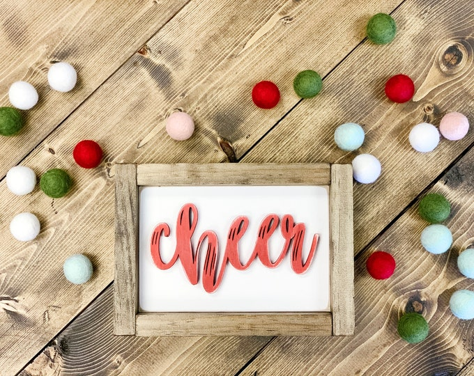 3D Signs | 3D Sign Letter | Cheer Wood Sign | Cheer Wood Cut Outs | Christmas | Christmas Cheer