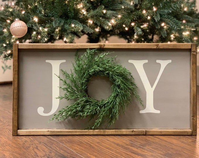 Joy Sign | Joy Sign With Wreath | Joy Sign Christmas | Christmas Signs | Christmas Signs Wood