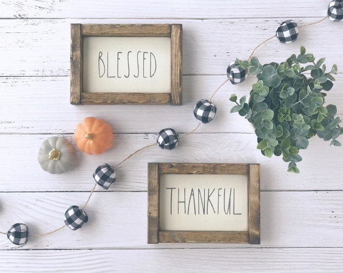 Blessed | Thankful | Rae Dunn Inspired | Wood Sign | Thanksgiving | Home Decor