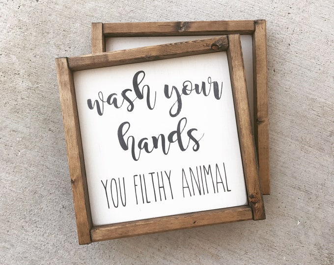 Wash Your Hands | Bathroom Decor | Framed Wood Sign | Farmhouse | Home Decor