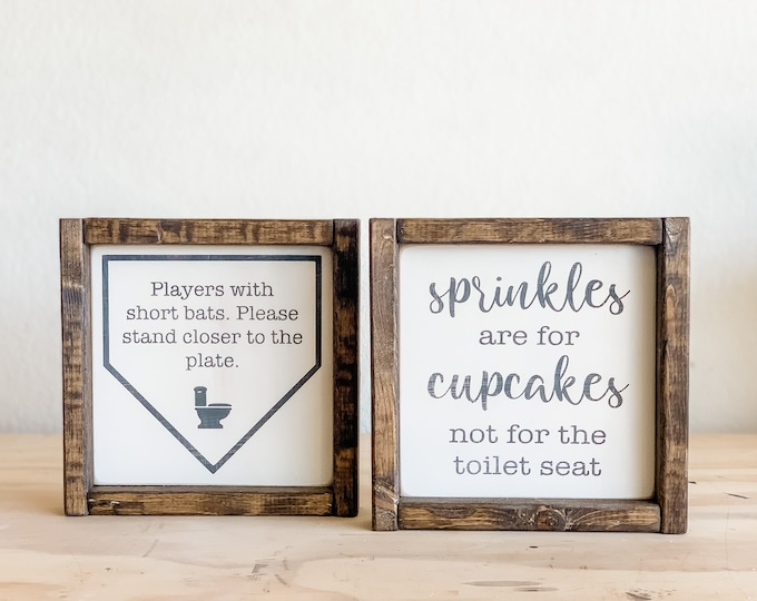 Sprinkles are for Cupcakes | Players with Short Bats | Bathroom Decor | Bathroom Signs | Bathroom Wall Decor | Wood Sign