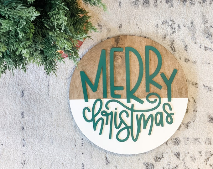 3D Merry Christmas Sign | 3D Round | Merry Christmas Round Sign | Merry Christmas Sign