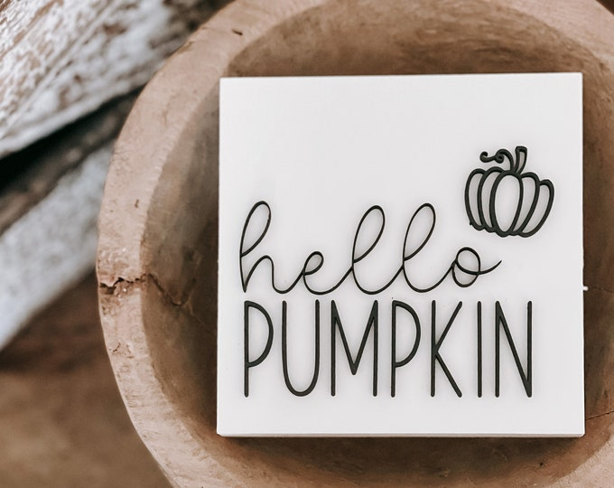 Featured listing image: 3D Hello Pumpkin Wood Sign | Hello Pumpkin | 3D Wood Sign