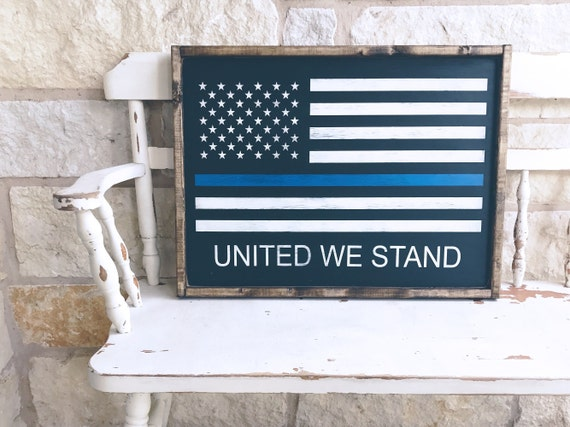 Thin Blue Line American Flag Wood Sign | Wooden Flag | United We Stand | Police Officer | Blue Line | Thin Blue Line