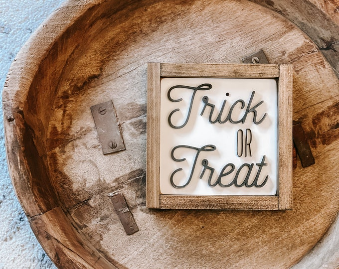 Featured listing image: Trick or Treat Sign | 3D Sign | Trick or Treat | Halloween Decorations | Halloween Decor | Halloween Wood Sign | 3D Wood Sign