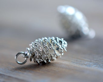 1 - REAL Pine Cone Pendant Dipped in Sterling SIlver Plated REAL Pinecone Small Charm Vintage Style Pendant Charm Jewelry Supplies (AN027)