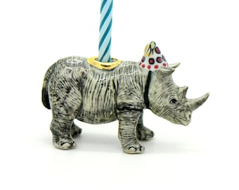 Party Animal Rhino Cake Topper Candle Holder O Hand Painted Porcelain Inspired Birthday Decoration