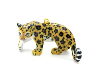 f379ce8c855 Porcelain Leopard Pendant • Hand Painted • Hand Made • Gift For Her • Animal  lover • Kids Gift • Cute Miniature Figurine Charm (CA051)
