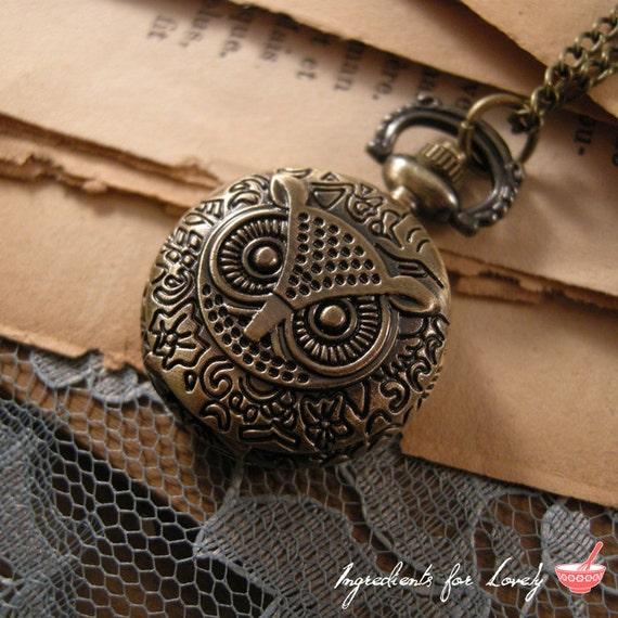 1 Pc Vintage Style Pocket Watch Necklace Owl Face Pocketwatch CHAIN INCLUDED (BB027)
