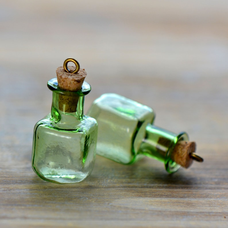 2 Small Green Square Bottle Charms Antique Bronze Cork Glass Etsy