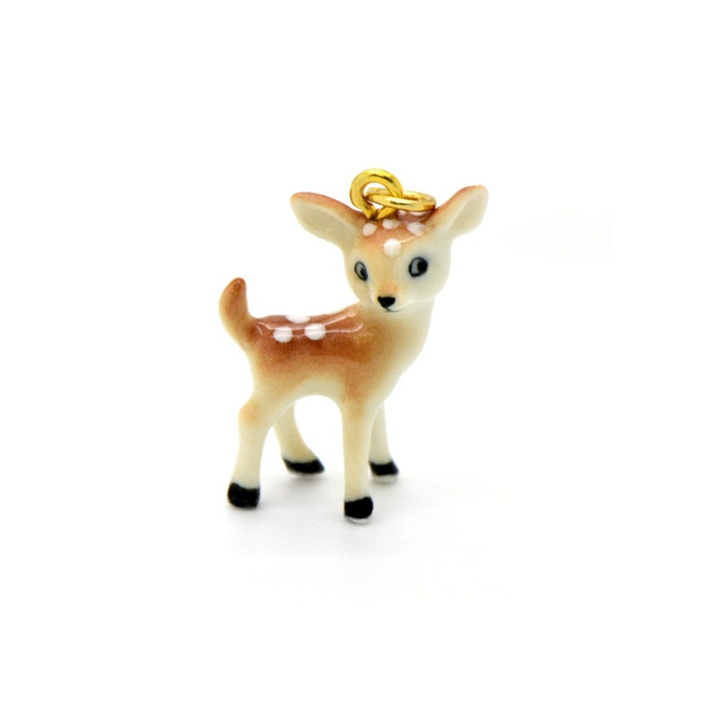 Tiny Porcelain Fawn Deer Pendant  Hand Painted  Hand Made  image 0