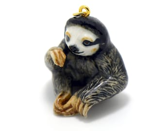 Porcelain Sloth Pendant • Hand Painted • Hand Made • Gift For Her • Animal lover • Kids Gift • Cute Miniature Figurine Ceramic Charm (CA063)