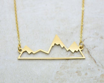 Mountain Silhouette Necklace, Brushed 24k Gold Plated Stainless Steel, Dainty Minimal Mountain Ridge Layering Layered Long Necklaces (AP001)